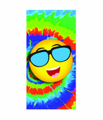 Emoji with Sunglasses Tie Dye Beach and Bath Towel