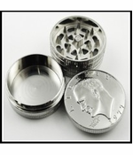 Silver Dollar Herb Grinder With Pollen Catcher