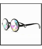 GloFX Black Kaleidoscope Glasses - Rainbow Diffraction