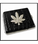 2 in 1 Cigarette Case Belt Buckle With Pot Leaf