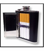 Black 6 oz. Flask with Built in Cigarette Case (For Regular Size & 100's)
