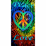Love-n-Peace Zebra Tie Dye Beach & Bath Towel
