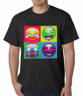 Block Print Emoji Faces Men's T-shirt