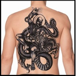 Full Back Temporary Tattoo - Dragon Fight