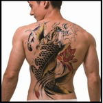 Full Back Temporary Tattoo - Koi