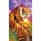 Tiger in the Sunset Velour Beach Towel