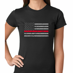 Firefighter Thin Red Line American Flag - Support Firefighter Department Horizontal Women's T-shirt