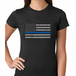 Police Thin Blue Line American Flag Women's T-shirt