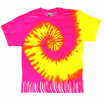 Neon Yellow and Pink Tie Dye Fringe Ladies T-shirt