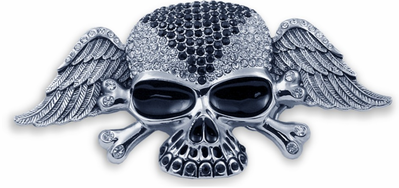 Designer Winged Skull Buckle With FREE Leather Belt
