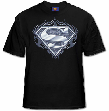 Superman Biker Metal Logo T-Shirt