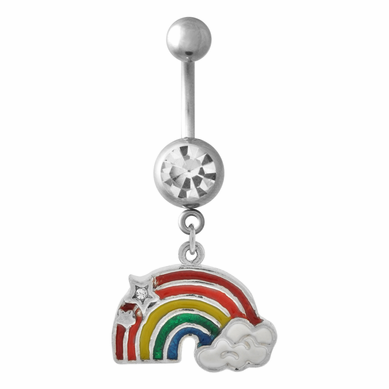 Rainbow Dangle Belly Ring