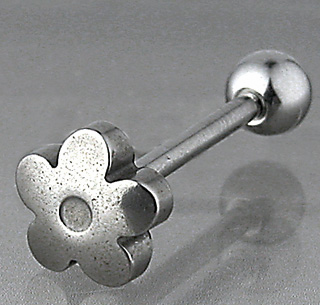 Stainless Steel Flower Top Tongue Barbell