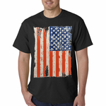 Vertical Distressed American Flag Men's T-Shirt