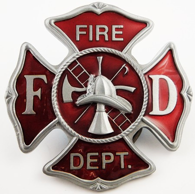 Fire Dept. Belt Buckle With FREE Leather Belt