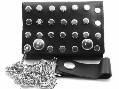 Studded Leather Chain Wallet
