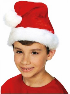 Deluxe Kid's Size Thick Plush Santa Hat
