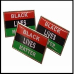 Black Lives Matter Flag Epoxy Coated Lapel Pin (Set of 3)