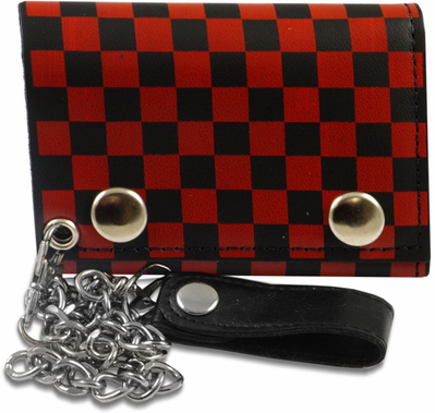 Red Checkerboard Leather Chain Wallet