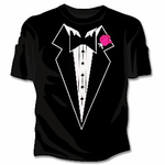 Womans Tuxedo With Pink Flower T-Shirt (Black)