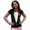Girls Ruffled Tuxedo T-Shirt With Pink Rose