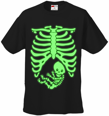 Glowing Pregnant Skeleton Men's T-Shirt