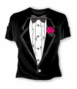 Girls Tuxedo With Pink Flower T-Shirt (Black)