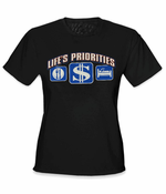 Life's Priorities - Eat, Sleep & Make Money Girls T-Shirt