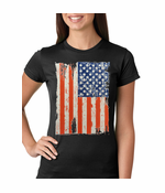 Vertical Distressed American Flag Women's T-Shirt