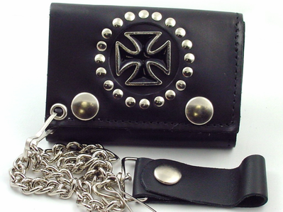Iron Cross Leather Chain Wallet