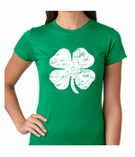 St. Patrick's Day Vintage Distressed 4 Leaf Clover Women's T-Shirt