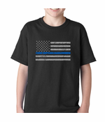 Police Thin Blue Line American Flag Kids T-shirt