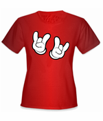 Cartoon Hands Rock On T-Shirt