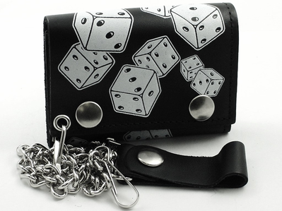Lucky Dice Leather Chain Wallet