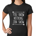 (White Print) You Know Nothing Jon Snow Women's T-shirt