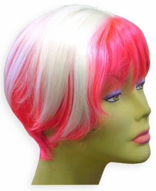 Hot Pink / White Two Tone Colored Wig