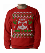 Meowy Christmas Cool Cat with Glasses Ugly Crewneck