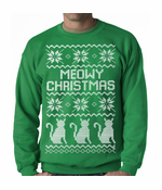 Meowy Christmas (White Print) 3 Cats Crewneck