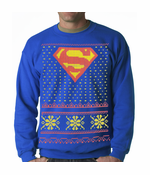 Official Superman Ugly Christmas Sweater Adult Crewneck Sweatshirt