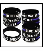 10 Pack Thin Blue Line Blue Lives Matter Rubber Bracelets