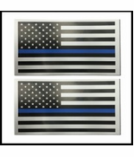 Thin Blue Line Flag 3x5 Inch Car Magnet 2 Pack