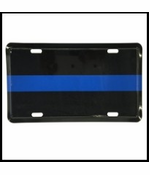 "Thin Blue Line Metal License Plate 12"" x 6"""