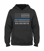 Blue Lives Matter Blue Line Flag Adult Hoodie