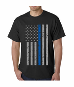Police Thin Blue Line American Flag Men's T-Shirt