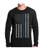 Police Thin Blue Line American Flag Thermal Shirt