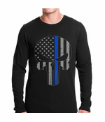 Thin Blue Line Skull American Flag Thermal Shirt