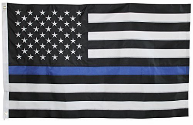 Thin Blue Line Police American Flag 3x5 Foot with Embroidered Stars
