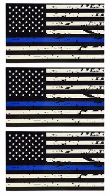 Tattered Thin Blue Line Flag Decal Sticker 3 Pack