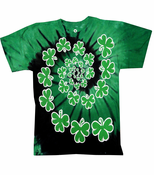 Spiral Clover Irish Green Tie Dye T-Shirt