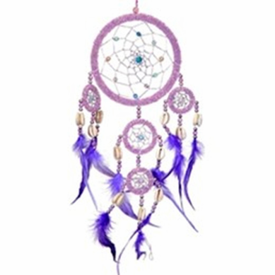 Large Pink Beaded Dream Catcher Purple Feathers